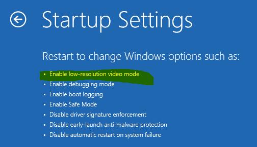 Start Windows 10 in VGA mode