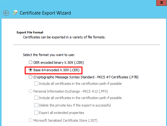cer radio button in the certificate export wizard using the gui see screenshot below