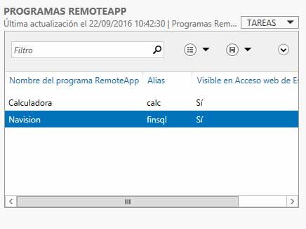 Aplicaciones publicadas en el servidor