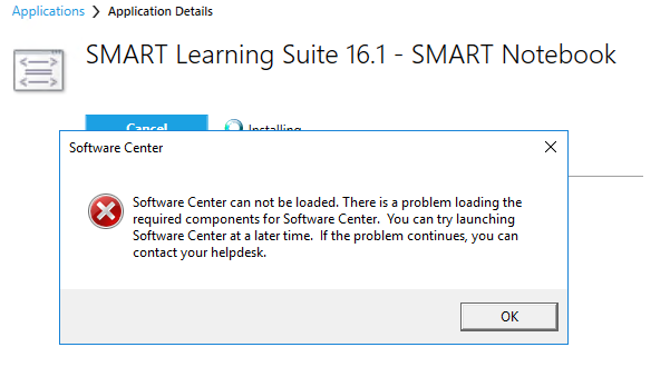 Software Center can not be loaded