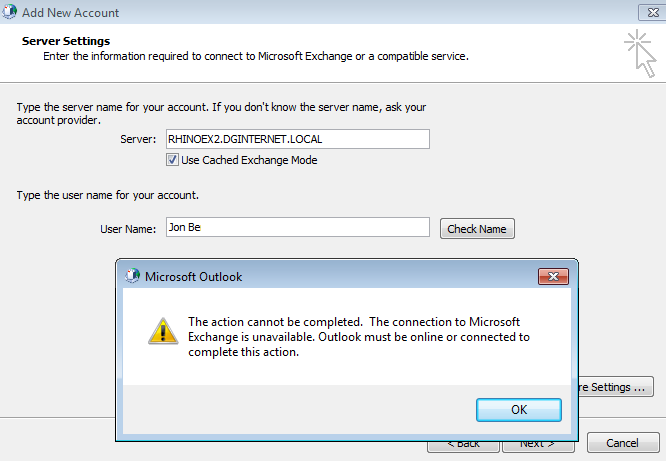 The name cannot be resolved, the connection to Microsoft Exchange is