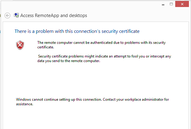 RemoteApp: problem with certificate