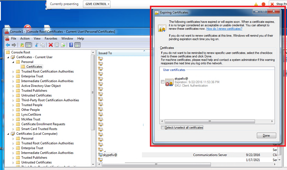 Skype For Business Online User Is Prompted With Expired