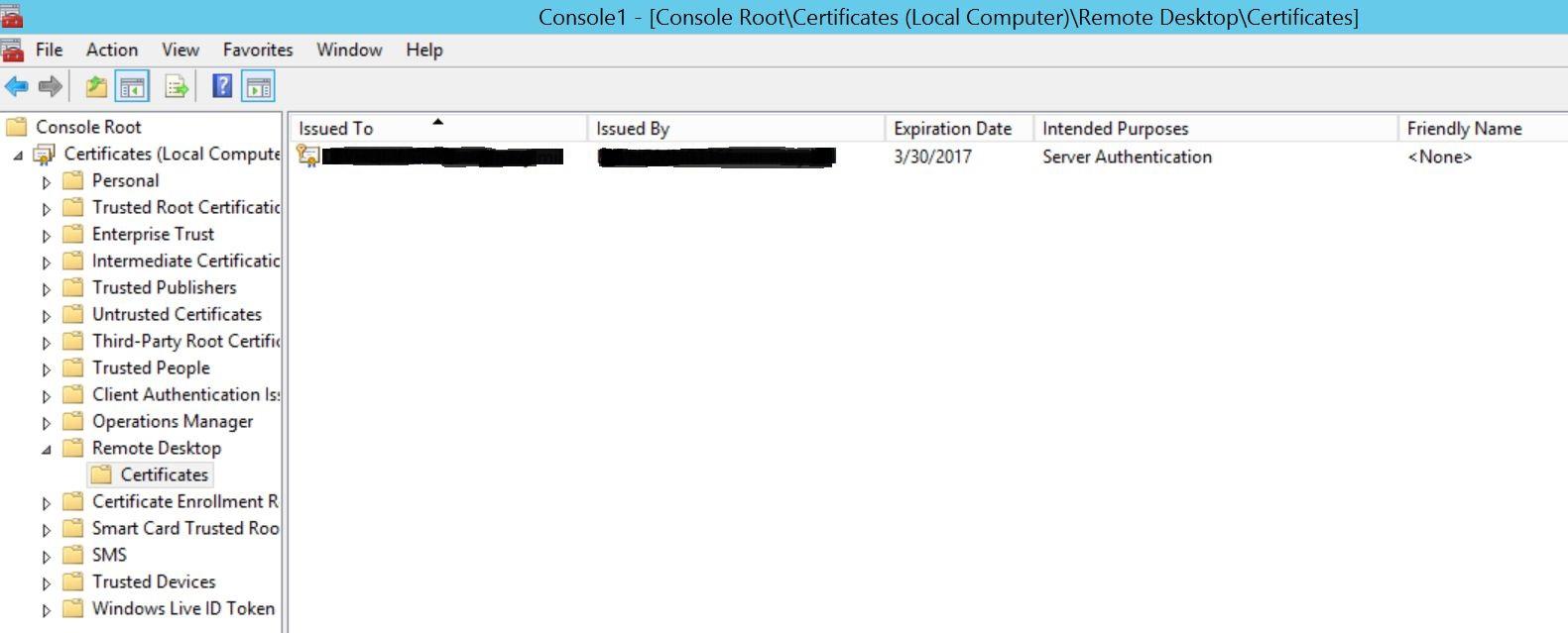 Self Signed Cert In The Remote Desktop Cert Store