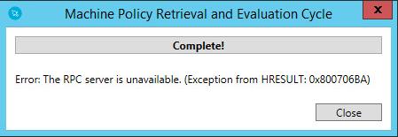 SCCM CB 1606 UR1 - Right Click Tool Error: The RPC server is