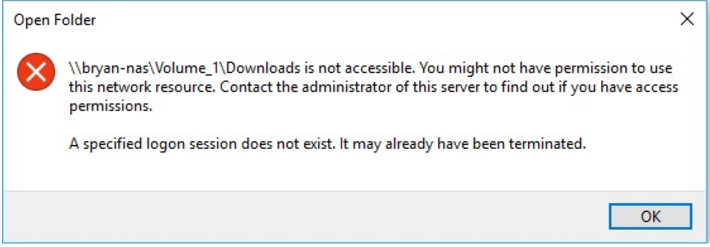 After recent update, Windows 10 cannot connect NAS SMB share