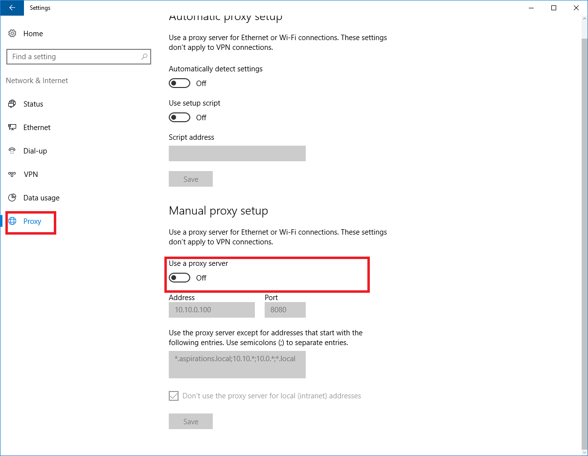 How to change proxy settings in windows