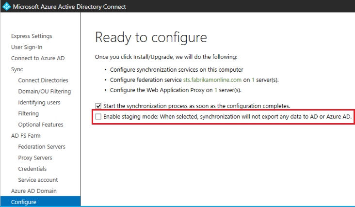 Azure AD connect upgrade