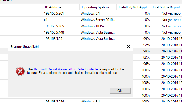 In WSUS, Unable to install Microsoft Report Viewer