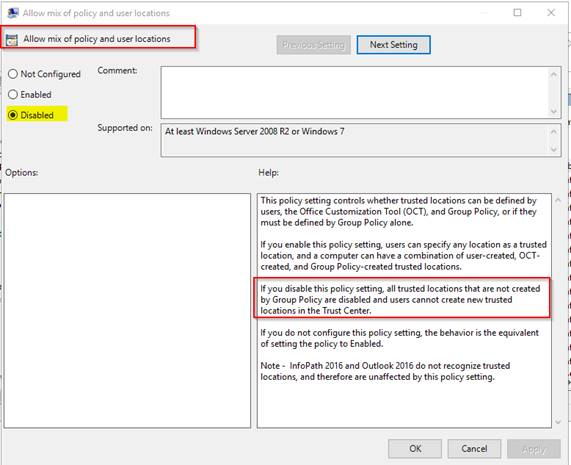 Office / Excel 2016 - allow trusted network locations without also