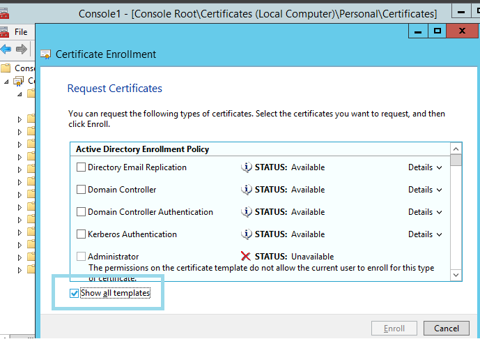Newly Issued Certificates Are Not Available When Requesting New