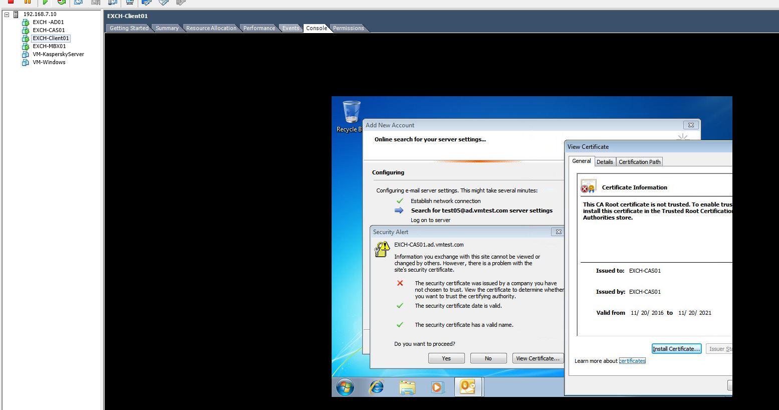 Outlook Certificate Error Via Autodiscover In Ms Exchange 2013