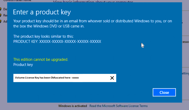 enter product key for volume license