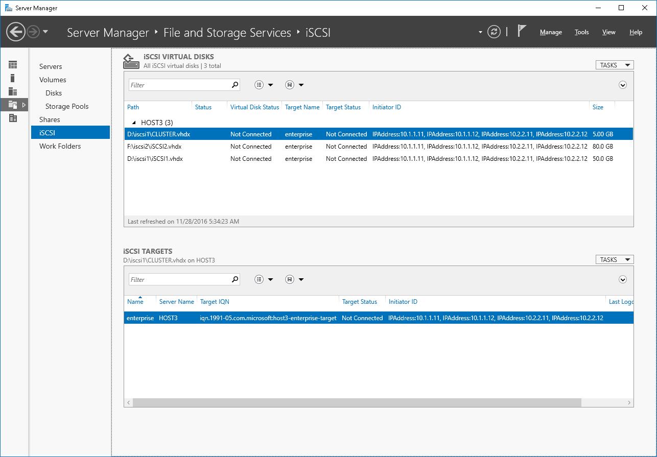 Windows Server 2016 iSCSI Target