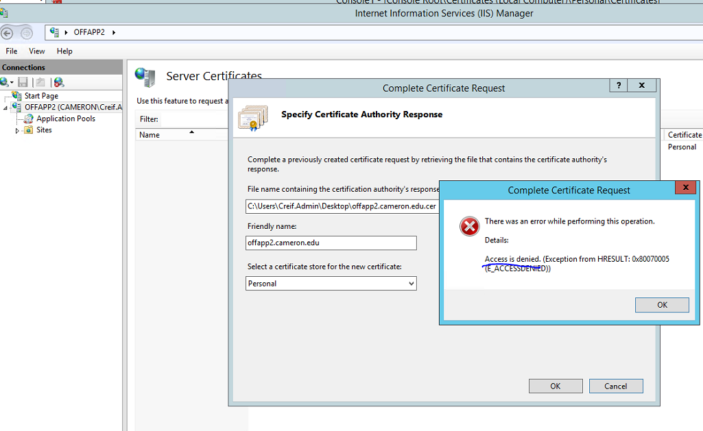 Access Denied During Complete Cert Request