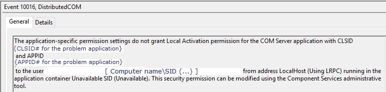 Event ID 10016 - DCOM Error | Source - Microsoft-Windows