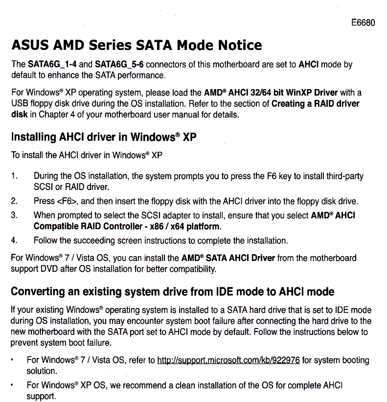 Windows 7 Professional x64 will not install in AHCI mode