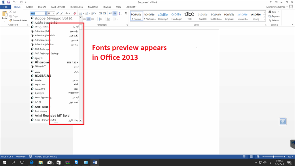 Office 2016 Not Show A Preview For Arabic Fonts In Drop Down