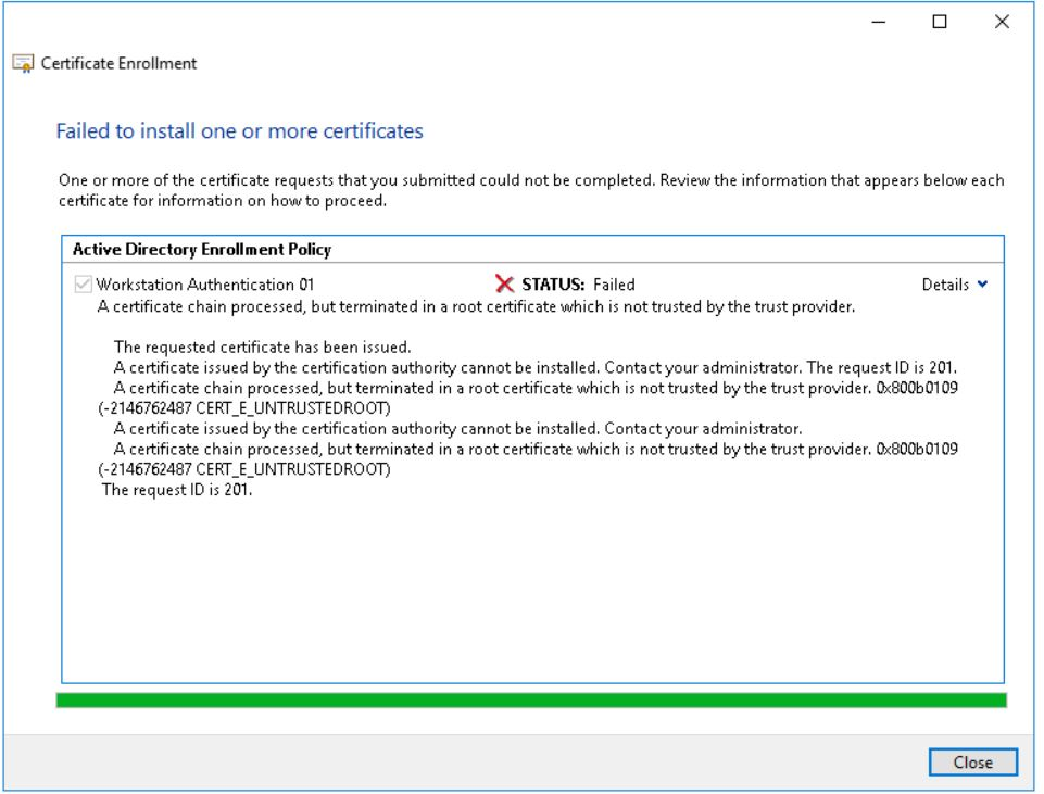 Window Server 2016 Not Trusting Root Ca