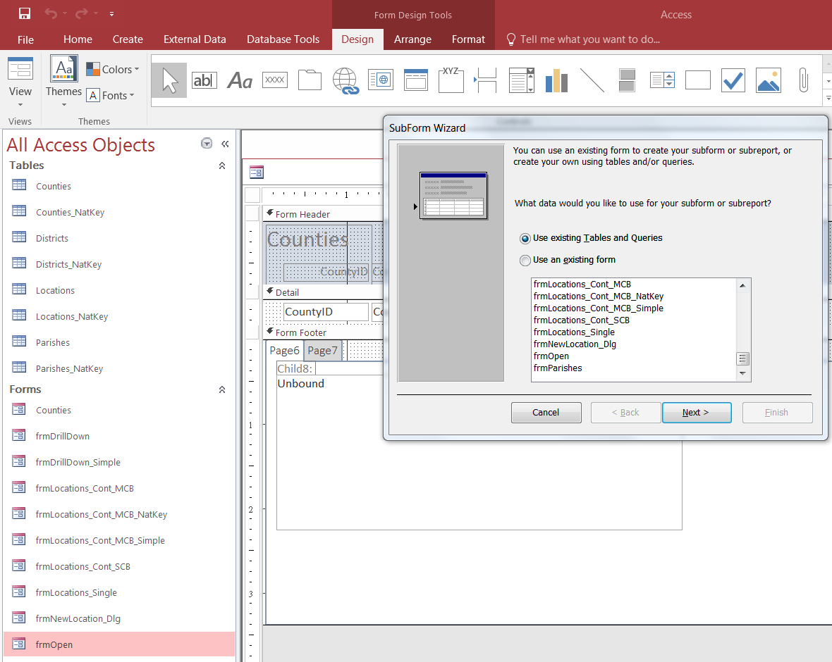 ACCESS 2016 subform wizard doesn't show tables/queries but forms only
