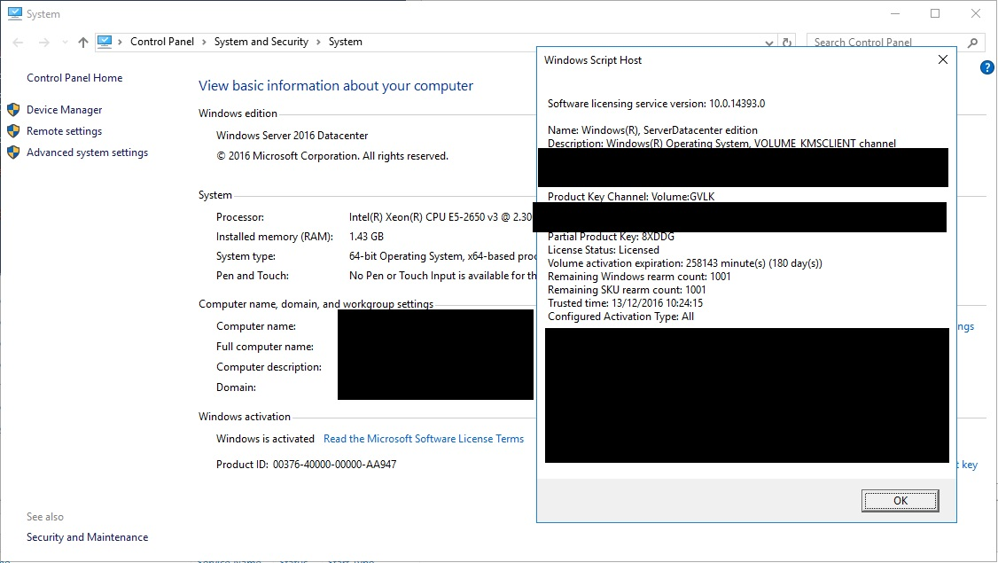 Windows Server 2016 - Volume Activation Issue