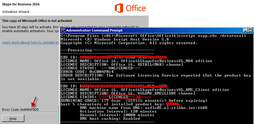 microsoft office is not activated error code 0x4004f00d