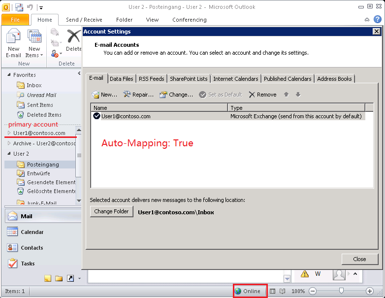 outlook client are amp quot online with microsoft exchange amp quot