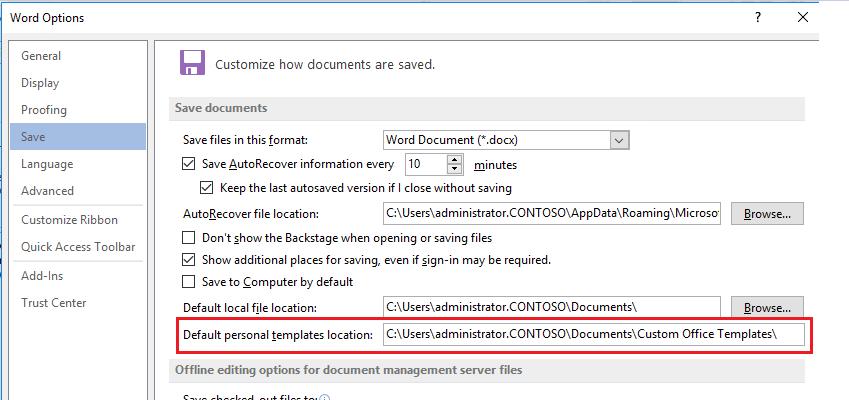 Office 365 Proplus Custom Template Location