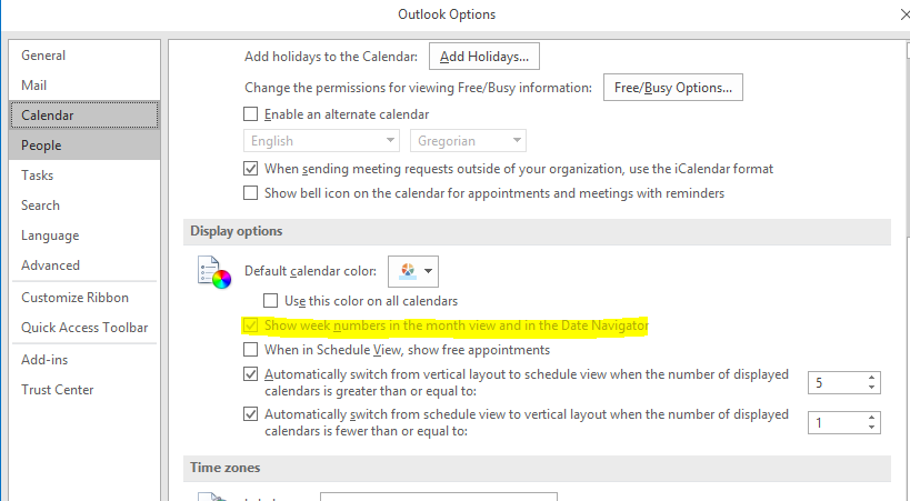 Outlook 2016: checkbox for presenting WeekNumber greyed out