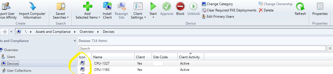 SCCM client icon showing with question mark in management