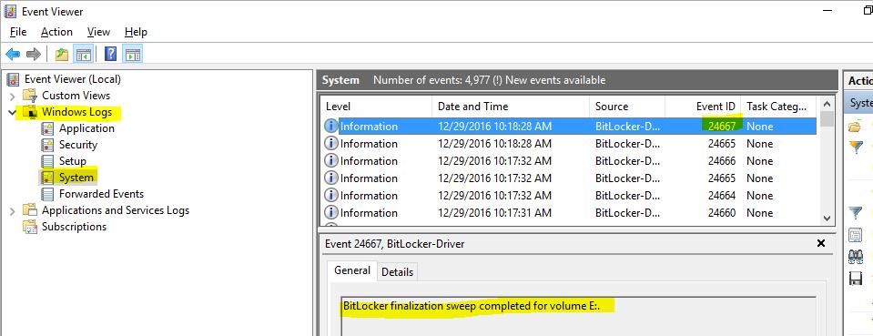 BitLocker encryption in Event Viewer