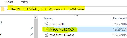 mscomct2.ocx windows 10 64 bits