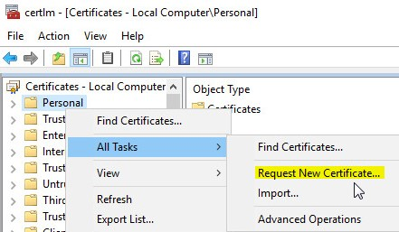 Cant create a valid web server certificate request for internal ca right click on personal and select all tasksrequest new certificate yelopaper Gallery