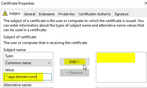 Cant create a valid web server certificate request for internal ca in the subject name drop down select common name on the left add value main yelopaper Gallery