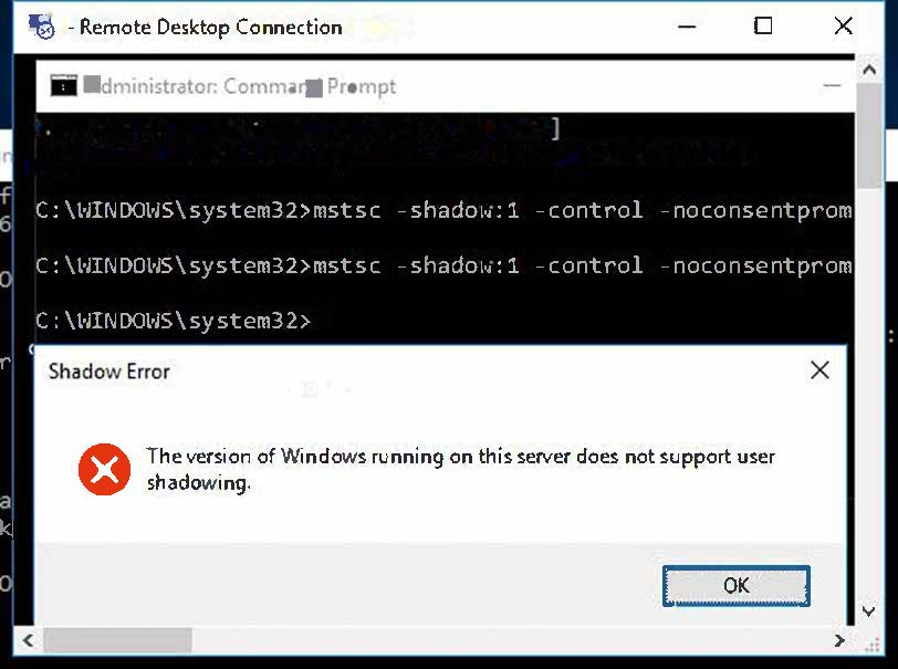 Bug server 2016 standard w desktop admin rdp session shadow console error please advise fix - Remote desktop console mode ...