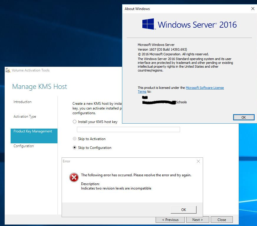 will server 2016 kms key activate windows 10