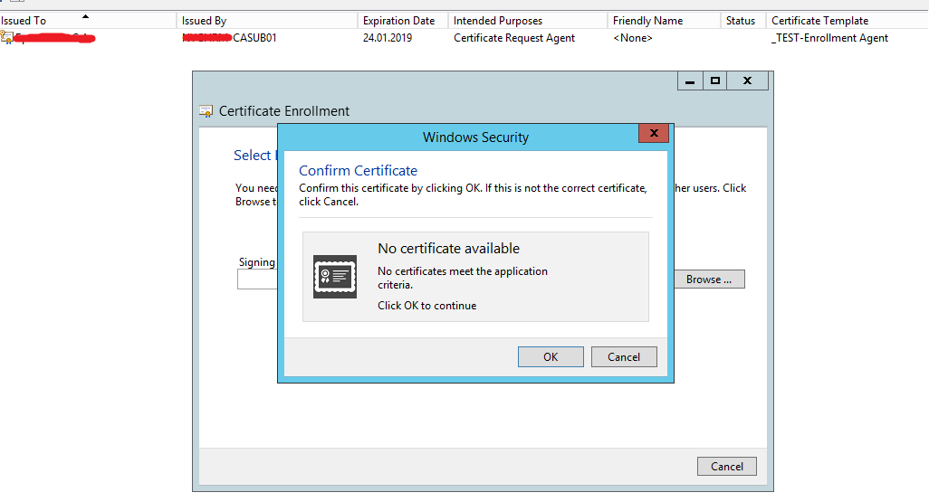 Cant request ad cs certificate for other user through eobo ive checked application policies certificate request agent in the template tried on several workstation and adcs server yadclub Gallery