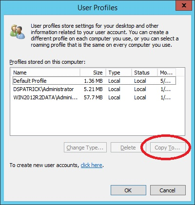 windows 7 repair default profile