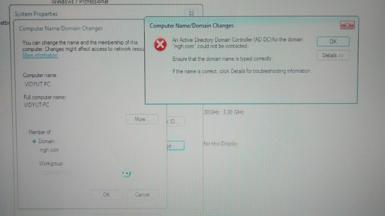 Error while Joining Desktop to Domain