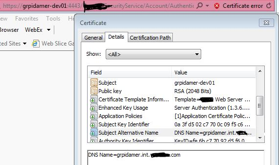 Requested certificate template no supported denied by policy module note the subject matches what i put into my browser but i also specified the fqdn as an alternate name yadclub