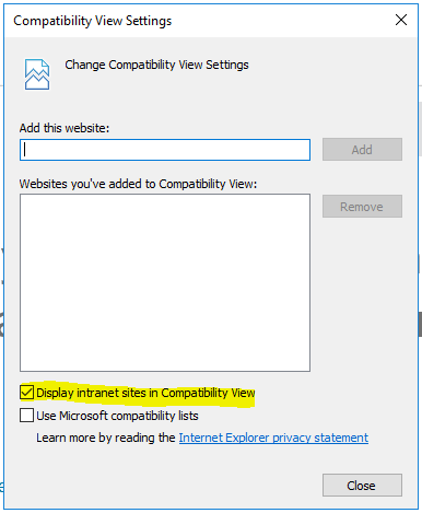 Registry key to uncheck Display intranet sites in