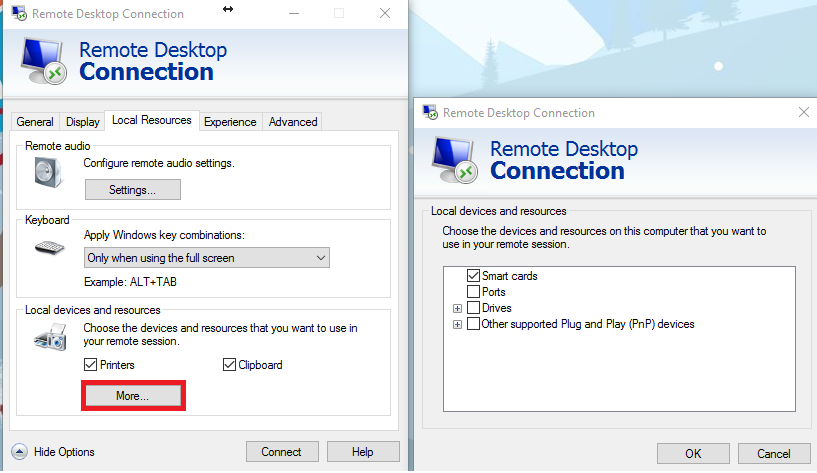 local disk/printers not accessible in remote desktop session