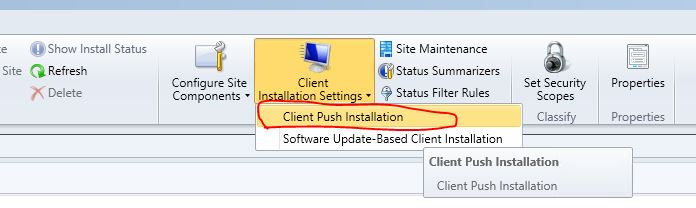 SCCM 2012 is not pushing client