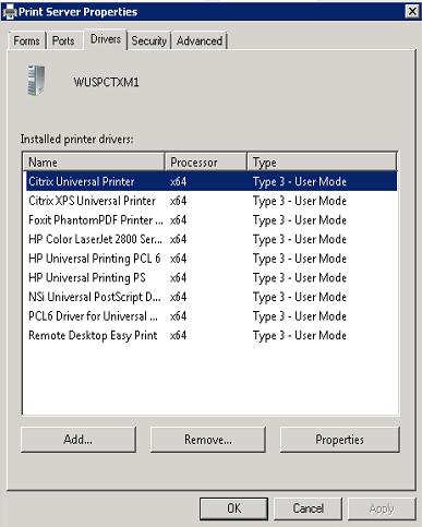 Windows 2008 R2 Installed Printer has NO ports and NO Drivers