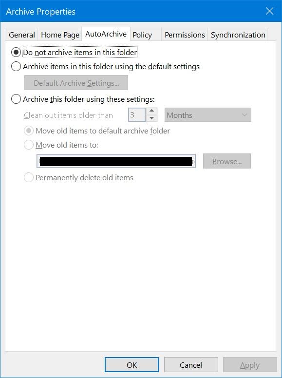 AutoArchive For Folder