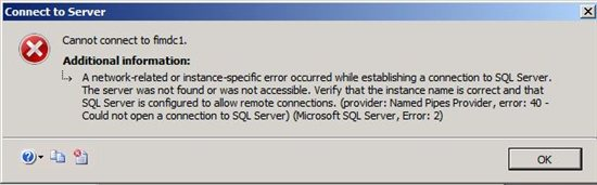 A network-related or instance-specific error occurred while establishing a connection to SQL Server. The server was not found or was not accessbile. Verify that the instance name is correct and that the SQL Server is configured to allow remote connections. (provided: Named Pipes Provider, error: 40- Could not open a connection to the SQL Server) (Microsoft SQL Server, Error: 2)