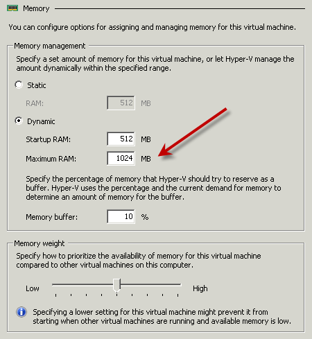 Hyper-V Manager: Maximum RAM