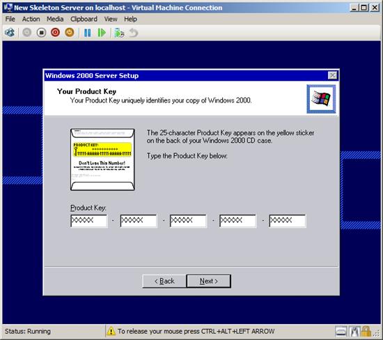 How to Install a Skeleton Server 2000 on to a Hyper-V Server