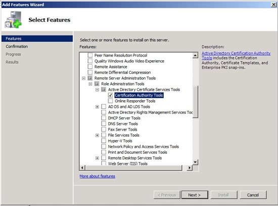 How to install certification authority tools on a non certification how to install certification authority tools on a non certification authority in windows server 2008 yelopaper Images