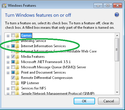 Internet Information Services checkbox in Windows Features panel